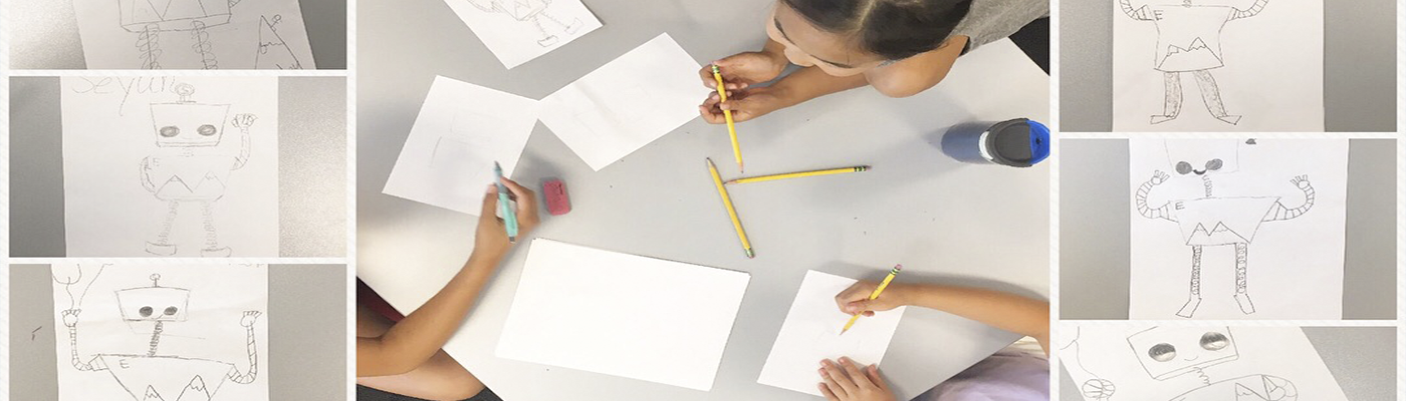 students drawing clint